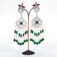 Hot Sale Long Tassel Shape Zircon Stone Pave Long Chandelier Drop Pearl Earrings Jewelry For Women