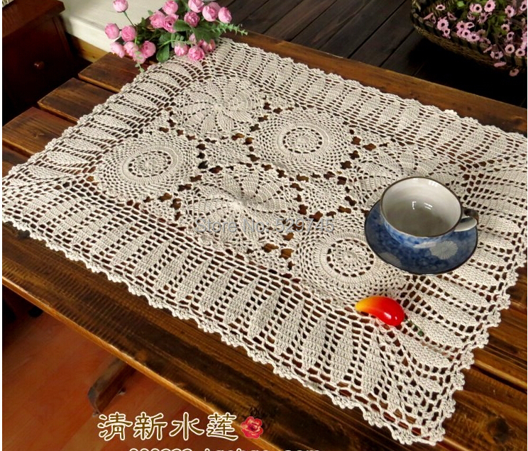 Handmade Crochet Flowers Tablecloth Continental La.