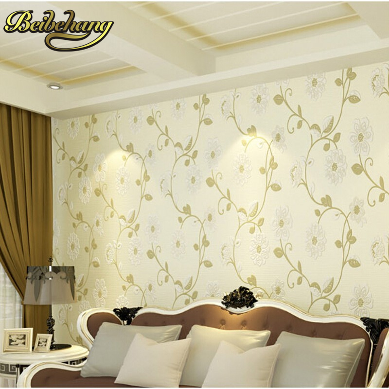 beibehang pastoral flower flocking non-woven wall paper home decor  bedroom living room papel de parede 3D wallpaper for wall beibehang papel de parede retro classic apple tree bird wallpaper bedroom living room background non woven pastoral wall paper