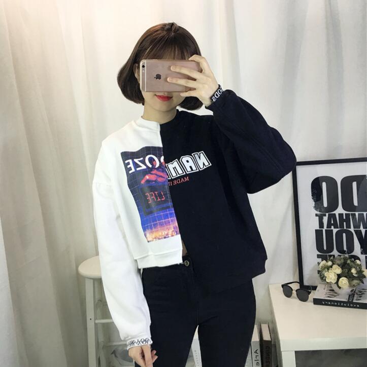 Corée Harajuk BF vent a frappé couleur irrégulière épissage lâche col femmes