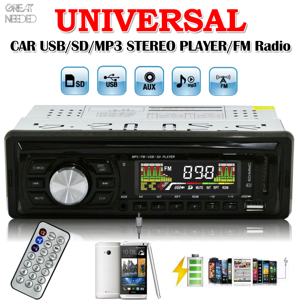 New Wireless Remote Control Car Radio Stereo Audio USB / SD / FM Vehicle Auto MP3 Player Phone AUX IN MP3 5V 500mA USB Charging