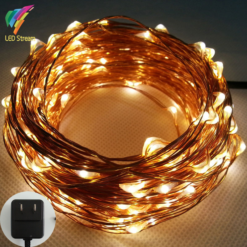 20M 200 Led US Plug 100-240Vac Copper Wire String Fairy Lights Lamp Include UL Adapter for Holiday Christmas Wedding and Party