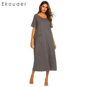 Image 5 - Ekouaer Dài Sleepshirts Váy Ngủ Nữ Cổ Tròn Ngắn Tay Kẻ Sọc Phối Túi Dây Kéo Bắp Chân Dài Rời Váy Ngủ Mùa Hè Váy Ngủ