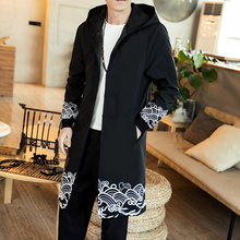 Chinese Mens Trench Coat Spring New Long Casual Overcoat Spray Print Hooded Male Big Size Trench Coat Windproof Homme