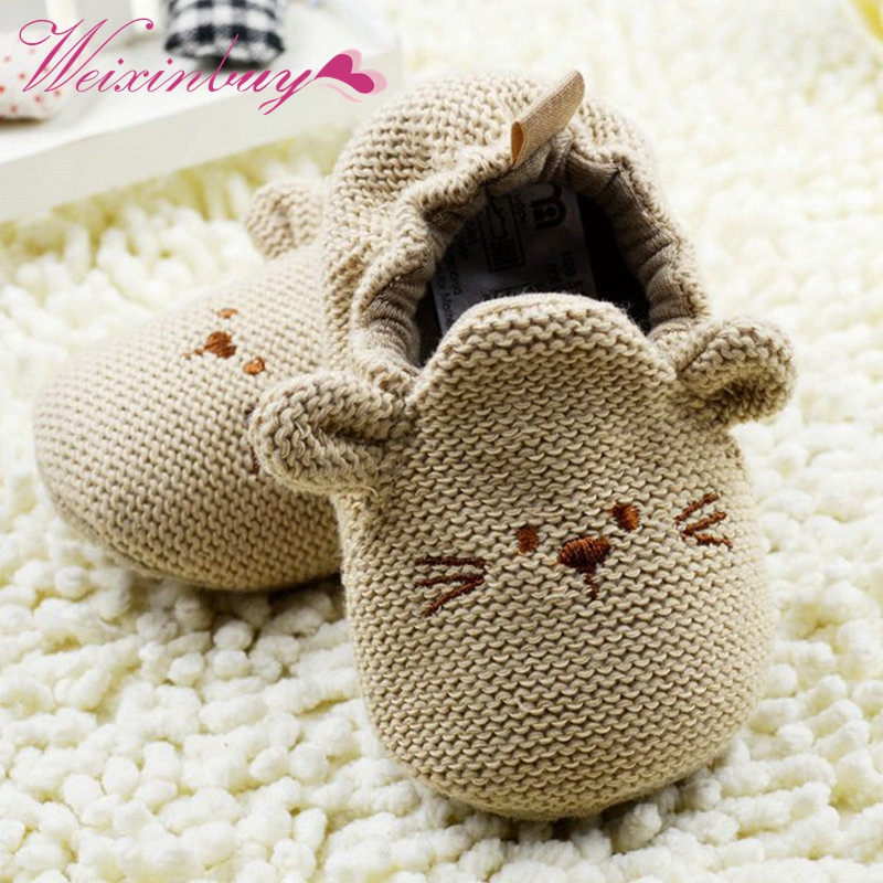 Cute First Walker 0-18M Cartoon Mouse Crib Shoes Baby Kid Elastic Mice Soft Sole Slip-on Shoes0-18 Months