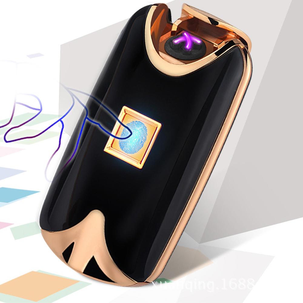 Prix pour 2016 nouvelle mode et vente chaude USB Électrique Double Arc En Métal Sans Flamme d'empreintes digitales Rechargeable Coupe-Vent Léger