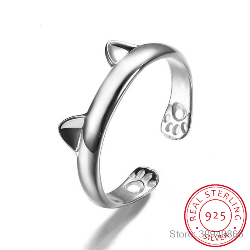 925 Silver Cat Ear Ring Cute Fashion Jewelry Cat Ring For Women Young Girl Child Gifts Adjustable Anel Wholesale LR0163