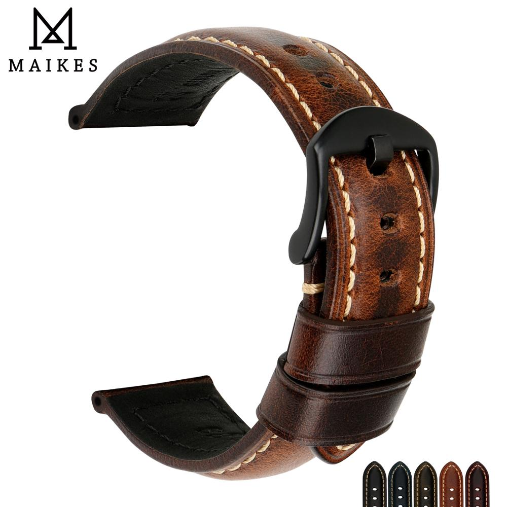 MAIKES Genuine Cow Leather Watchband Changeable Color Watch Band & Watch Strap 20mm 22mm 24mm 26mm Bracelet Watch Accessories