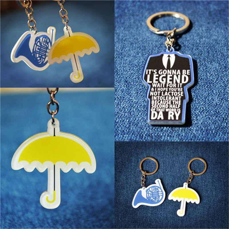 TV Show How I Met Your Mother Yellow Umbrella Blue Horn Keychain Keyring Gift toy Halloween s Collection Keychain KeyRing