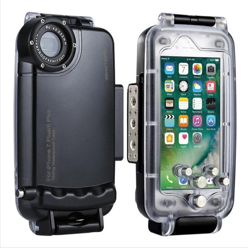 Haweel caso impermeable profesional para iPhone 8 7 40 m/130ft buceo fotografía subacuática cubierta protectora para el iPhone 8 7 más