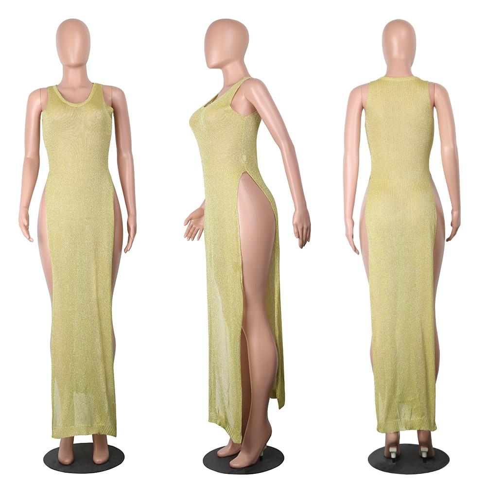 b414f84d0f79 Night Club Sexy Dress Transparent Knitted High Split Vestido Long Dress  Beach protect sun burning -in Dresses from Women's Clothing on  Aliexpress.com ...