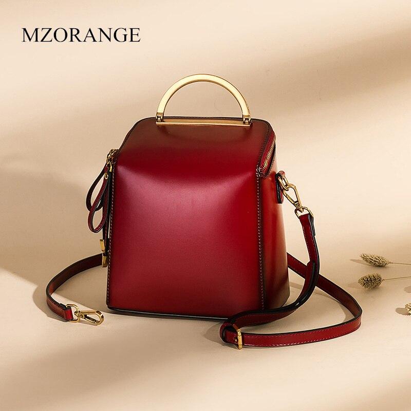 MZORANGE 2019 nouveau rétro sac à dos en cuir véritable un sac à bandoulière sac portable version coréenne dames sac à dos en cuir de vachette