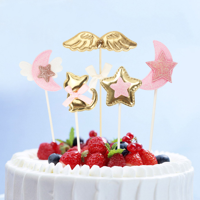 Gold Glitter Cake Topper Moon Stars Pink Angel Wings Cupcake For Birthday Party Baby Shower Wedding Decoration Tools