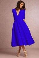 Deep V Neck Half Sleeve Solid vintage A Line Party Dress Ladies Vintage prom Bridesmaid Midi Dress For Women's