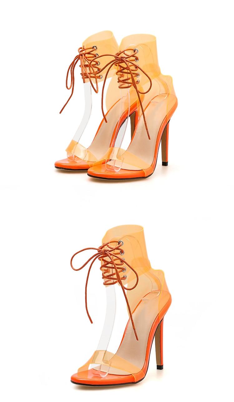 HTB1AAVRXfvsK1RjSspdq6AZepXaG Eilyken 2019 PVC Jelly Lace-Up Sandals Open Toed High Heels Sexy Women Transparent Heel Sandals Party Pumps 11CM Sales Promotion