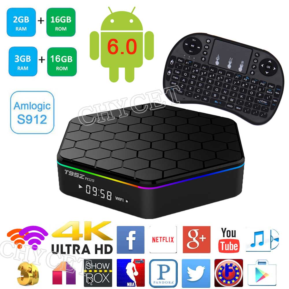 T95Z Plus 2G/16G  3G/16G Amlogic S912 Android 7.1 Smart TV Box Octa Core 4K*2K H.265 Decoding Dual Band WiFi Media Player