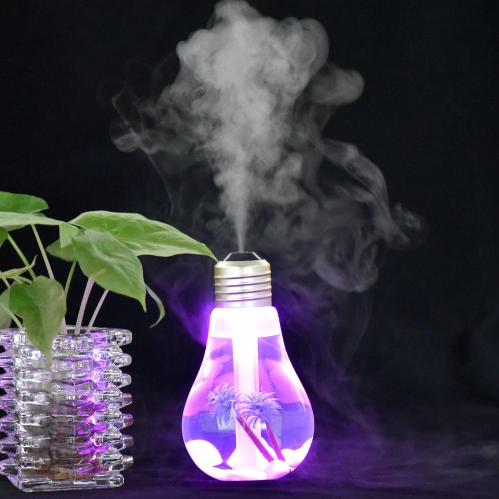 USB Portable Ultrasonic Humidifier LED Aroma Essential Oil Diffuser Difusor De Diffuser 400ML Aromatherapy Night Light Bulb 400 ml esencial aceite de grano de madera del difusor con cromado superior ultrasonico del aroma humidificador de vapor frio par