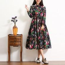 Chinese Style Women Dress Fashion Casual Cotton Linen Plate Buttons Autumn Dress Plus Size Women Clothing Art Retro Dress