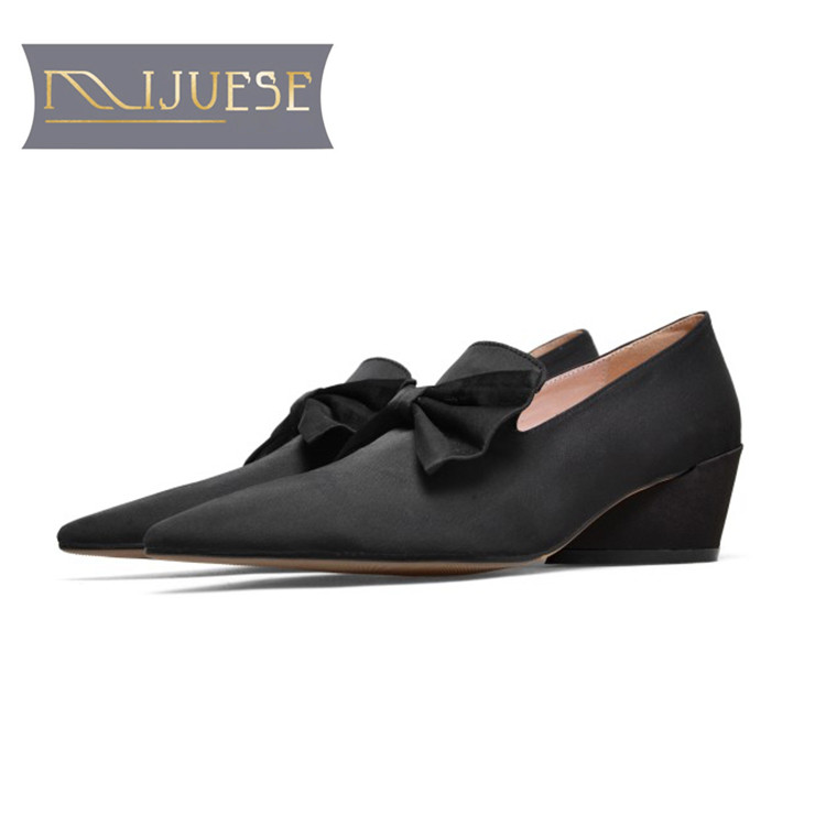 MLJUESE 2019 women flats sheepskin purple color bow pointed toe soft ballet flats shoes comfortable office shoes size 34-43