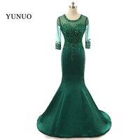 2018 Real Photos Prom Dresses Transparent Evening Dress Vestido De Festa With Sleeves Floor Length Mermaid Prom Party Dress