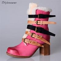 Стиль sowner Англия Стиль разноцветные Пряжка Для женщин натуральные кожаные ботильоны теплая шерсть мех толстый каблук модные зимние сапоги