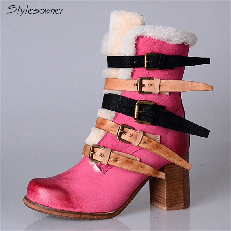 Stylesowner England Style Mixed Colors Buckle Women Natural Leather Ankle Boots Warm Wool Fur Thick Heels Fashion Winter Boots 2018 fashion genuine leather metal buckle mixed colors thick heels superstar winter boots round toe women mid calf boots l99