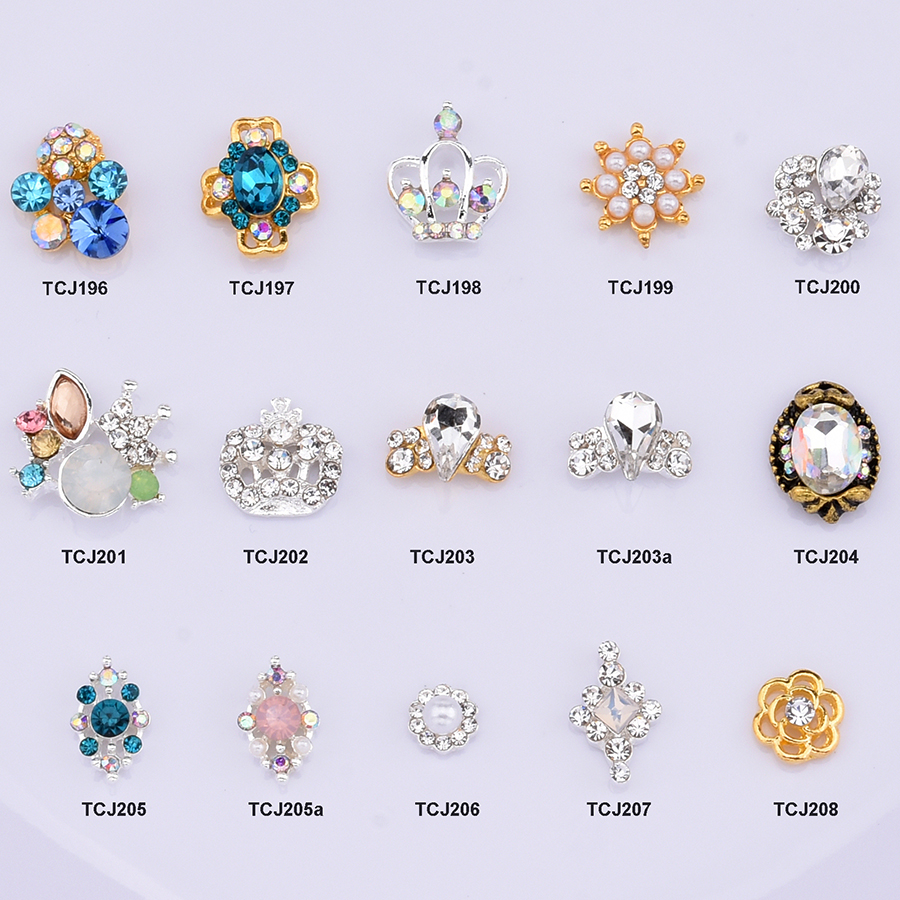 10pcs Crystal glass nail stone strass nail art 3d crown flower charms for nail decoration manicure accessories supplies TCJ196(China)