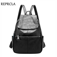 REPRCLA Brand High Quality Women Backpacks Fashion School Bags For Teenage Girls PU Leather Backpack Designer