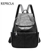 REPRCLA Brand High Quality Women Backpacks Fashion School Bags For Teenage Girls PU Leather Backpack Designer