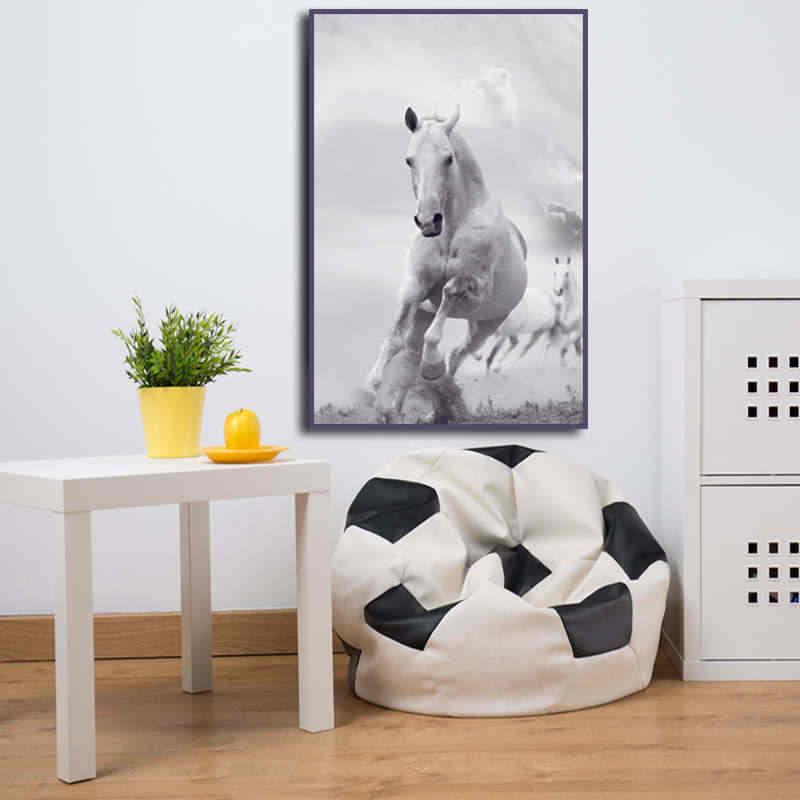 الشمال نمط الأبيض والأسود الحصان اللوحة على قماش HD طباعة الحديثة صور فنية للجدران لغرفة المعيشة غرفة نوم لا إطارات