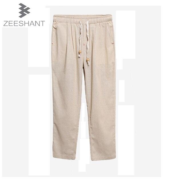 Pantalones Hombre Robe Super Ventilar Hombres Ropa Casual Pantalones de Lino  Respirable Comfort Tobillo-longitud 5a1754ba3b00