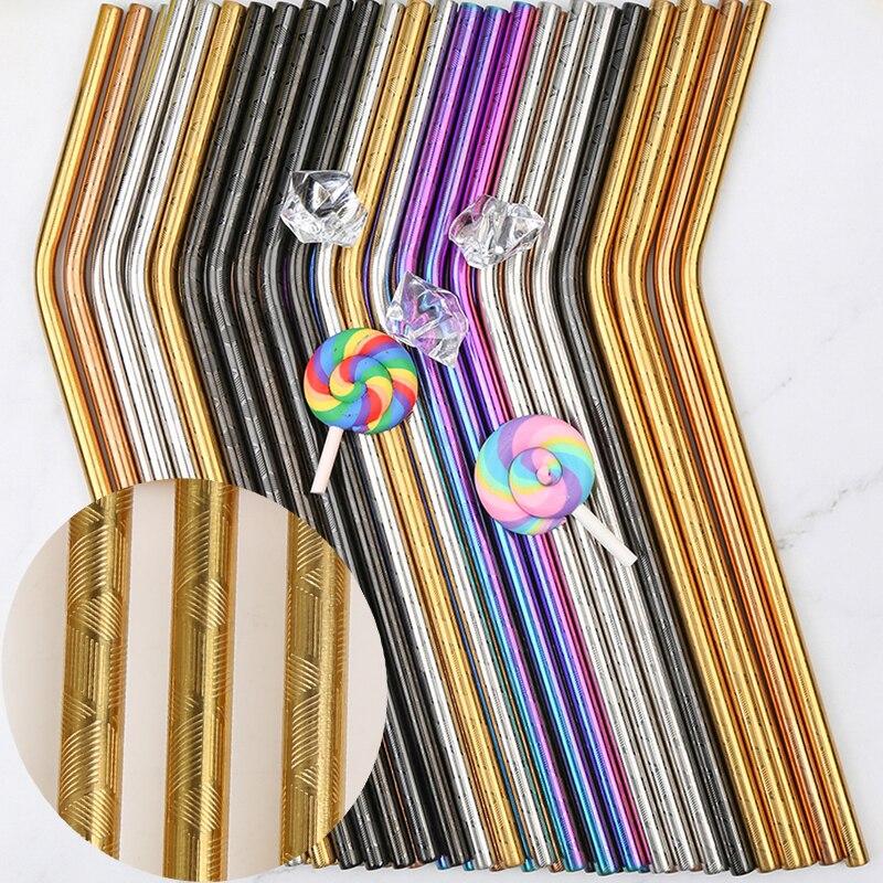 100 pièces à motifs en gros pailles en métal coloré réutilisable en acier inoxydable Tubes à boire e-co amical pailles portables