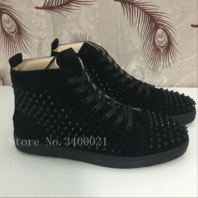 все цены на 2018 Follwwith Brand Spike Rivets Stud High Top Sneakers Round Toe Men Casual Shoes Lace Up Men Ankle Boots Unisex Flat Boots
