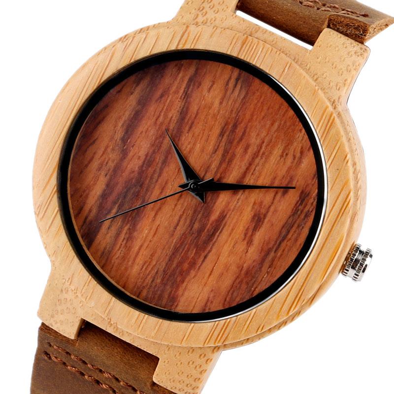 Bamboo loominguline puidust kella nahast bänd rihma kaasaegne kvarts - Meeste käekellad - Foto 4