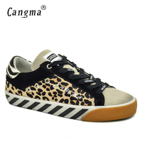 CANGMA Italian Famous Brand Womans Shoes Vintage Leopard Flats Horsehair Leather Yellow Breathable Women Retro Shoes