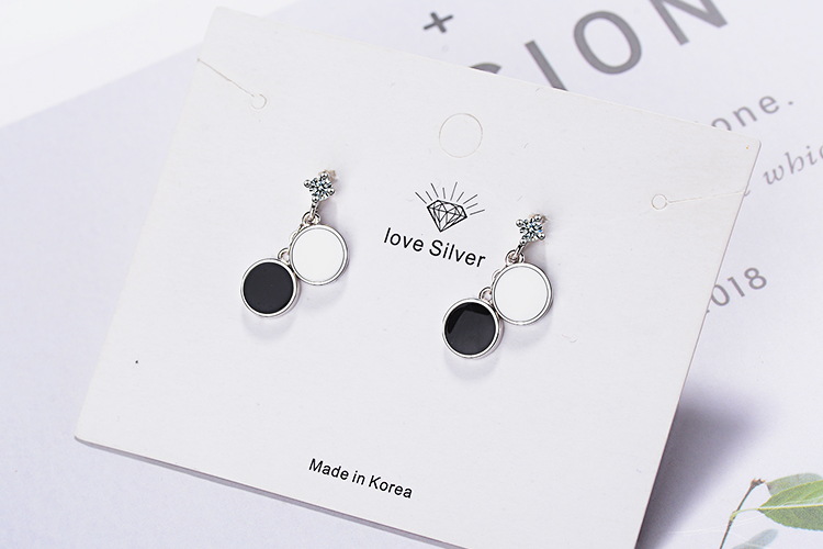 ANENJERY Simple Black and White Round Geometric 925 Sterling Silver Earring For Women Gift S-E844 6