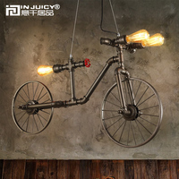Vintage Retro Industrial Bike Bicycle E27 Edison Metal Water Pipe Chandeliers Steampunk Iron Droplight Cafe Bar Dining Rooms