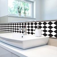 Black And White Classic Retro Tile Tiles Stickers PVC Bathroom Toilet Waterproof Wall Stickers Home Decor
