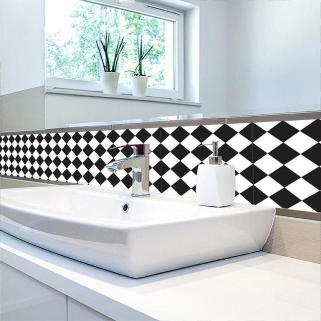 Schwarz und Weiß Klassische Retro Fliesen Aufkleber PVC Badezimmer ...