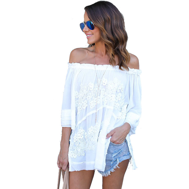 6ae282c8202ec3 Elegant Off Shoulder White Lace Crochet Blouse Women Fashion 2017 Summer  Tunic Chiffon Shirt Casual Tube Top for Women Clothing