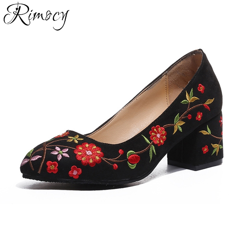 57e4017e4e37 Rimocy british vintage embroider floral thick heel pumps women 2018 spring  fashion design high heels slip on sandals shoes mujer