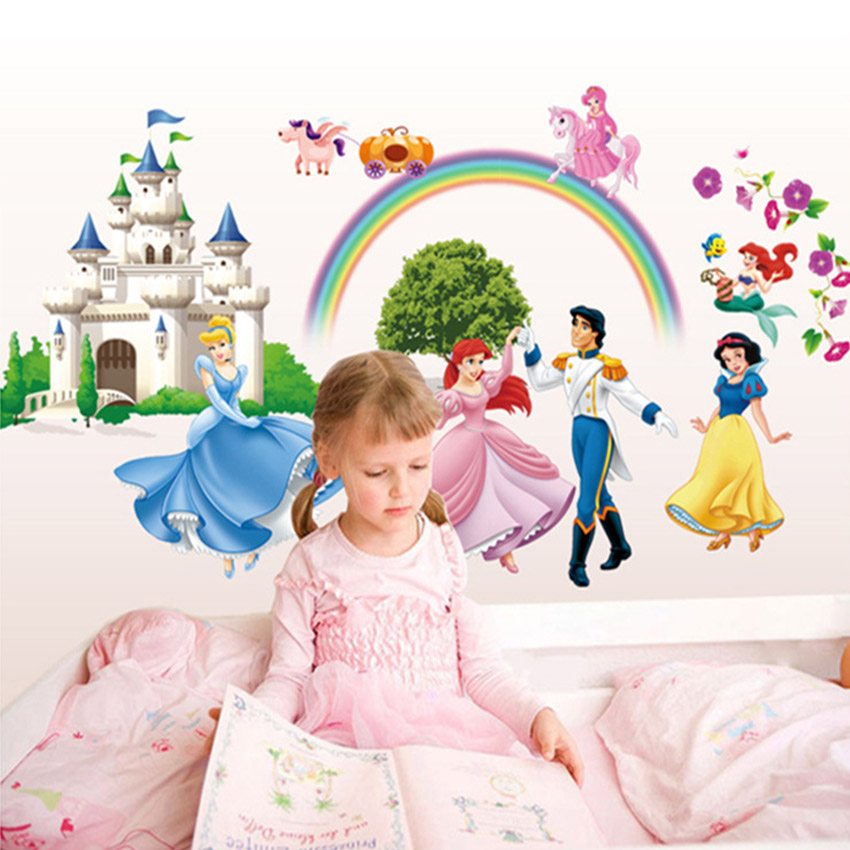 Buy cartoon wall stickers princess prince for Rainbow wallpaper for kids room