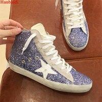 Hanbaidi женская повседневная обувь с высоким берцем сделать старый грязный обувь смешанные Цвет Для женщин пайетки Золотая Звезда рун обувь д