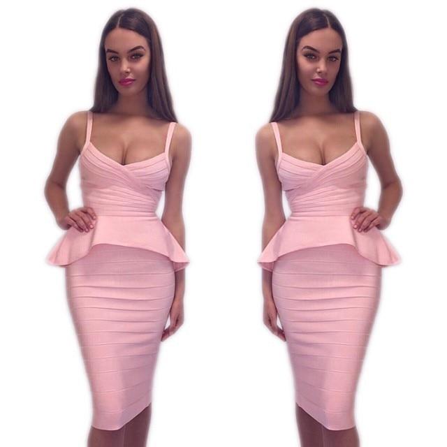 Velkoobchod s výrobkem Nové šaty Různé barvy Sling Two Piece Set Banquet Cocktail party Bandage dress (H0583)