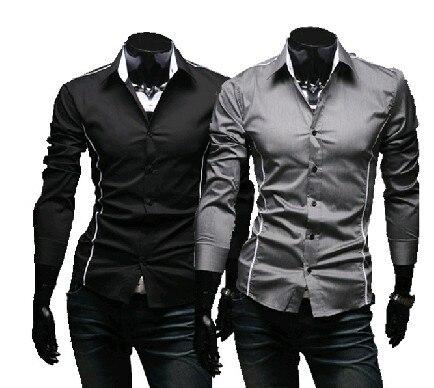 2016 Gloednieuwe Stijl Ontwerp Heren Hoge Kwaliteit Casual Slim Fit Stijlvolle Jurk Shirts 3 Kleuren Maat: M ~ 3xl