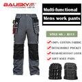 Bauskydd мужские прочные рабочие брюки с несколькими карманами  брюки с наколенниками для коленей  100% хлопок  рабочие брюки  бесплатная доставк...