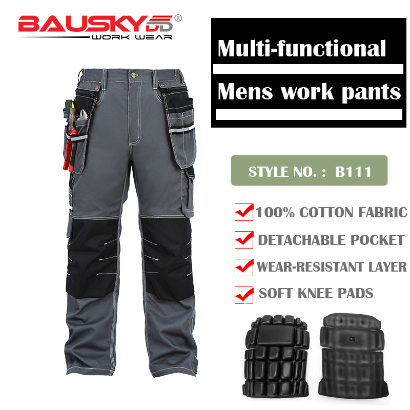 Bauskydd Mens Male Durable work pants multi-pocket  trousers with kneepads for kneel down 100% cotton work pants free shippingBauskydd Mens Male Durable work pants multi-pocket  trousers with kneepads for kneel down 100% cotton work pants free shipping