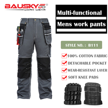 Bauskydd Mens Male Durable work pants multi-pocket  trousers with kneepads for kneel down 100% cotton free shipping