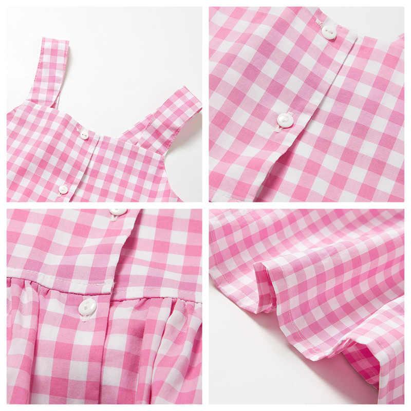 MinibalabalaGirls/платье на подтяжках 2019 г. новое летнее винтажное платье принцессы тонкие клетчатые хлопковые платья с цветочным рисунком для девочек