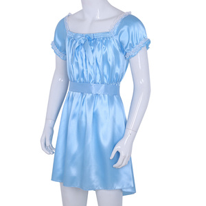 Image 3 - Iiniim мужское сексуальное женское белье костюм Babydoll, блестящий мягкий атласный Crossdress мужской с поясом, Sissy нижнее белье сексуальное эротическое